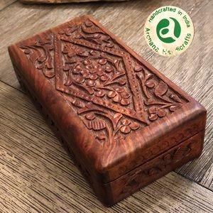 Vtg. Archana Handicrafts Carved Wooden Trinket Box
